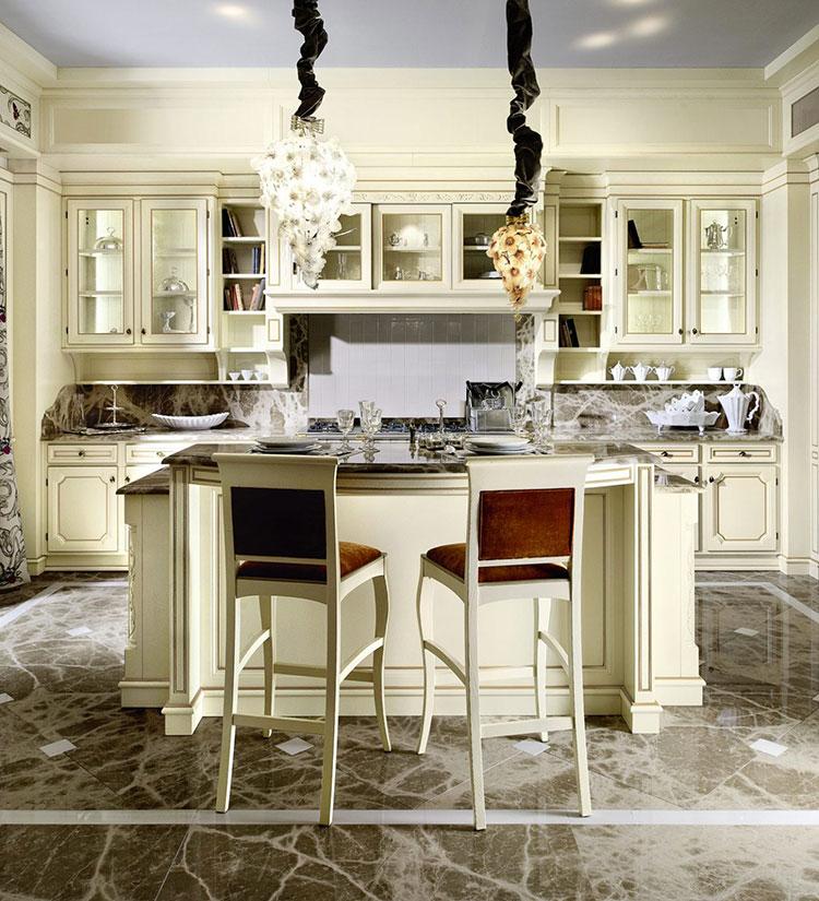 Modello di cucina classica con isola centrale de L'Ottocento n.04