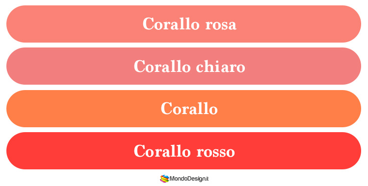 Gradazioni del color corallo