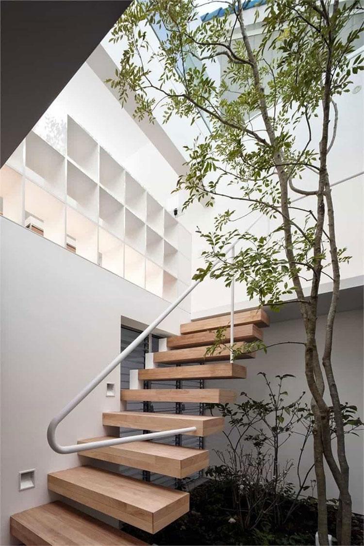 Modello di scala esterna moderna in legno n.01