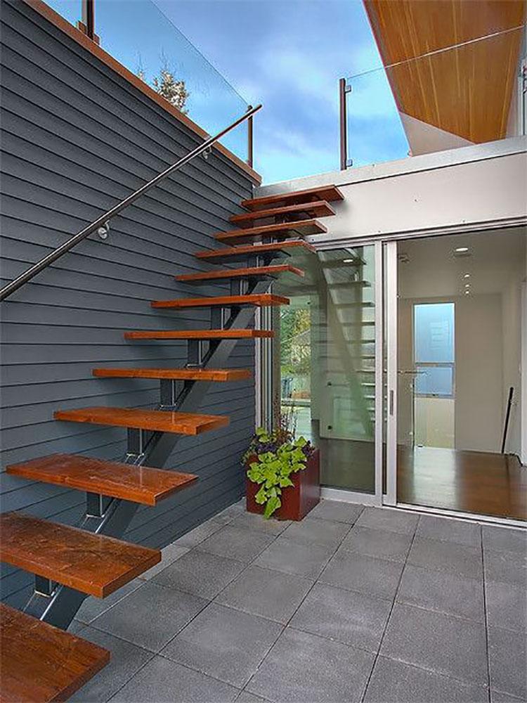 Modello di scala esterna moderna in legno n.02