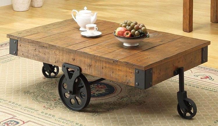 Modello di tavolino fai da te con ruote n.1