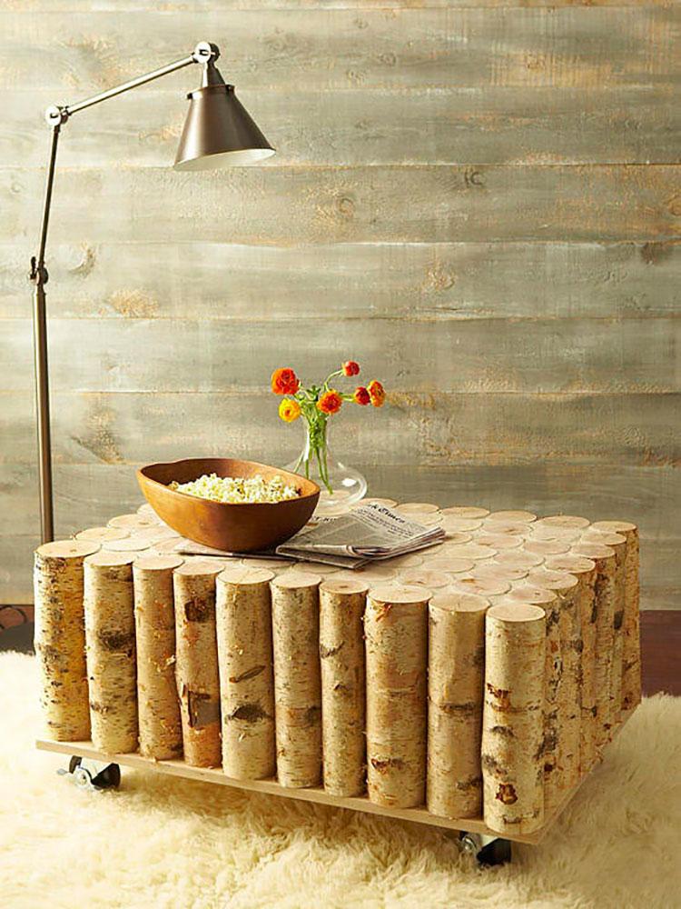 Modello di tavolino fai da te con tronchi n.1