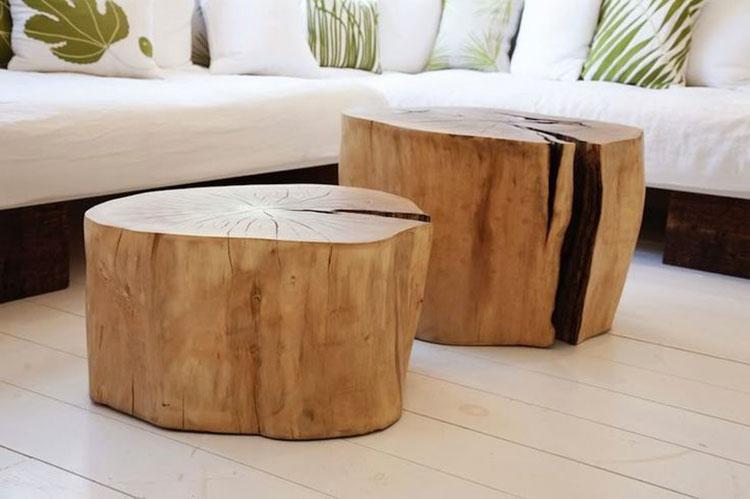 Modello di tavolino fai da te con tronchi n.2