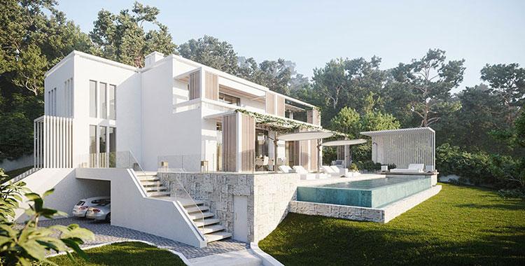 Villa da sogno con interni di lusso in legno e pietra for Ville lussuose interni