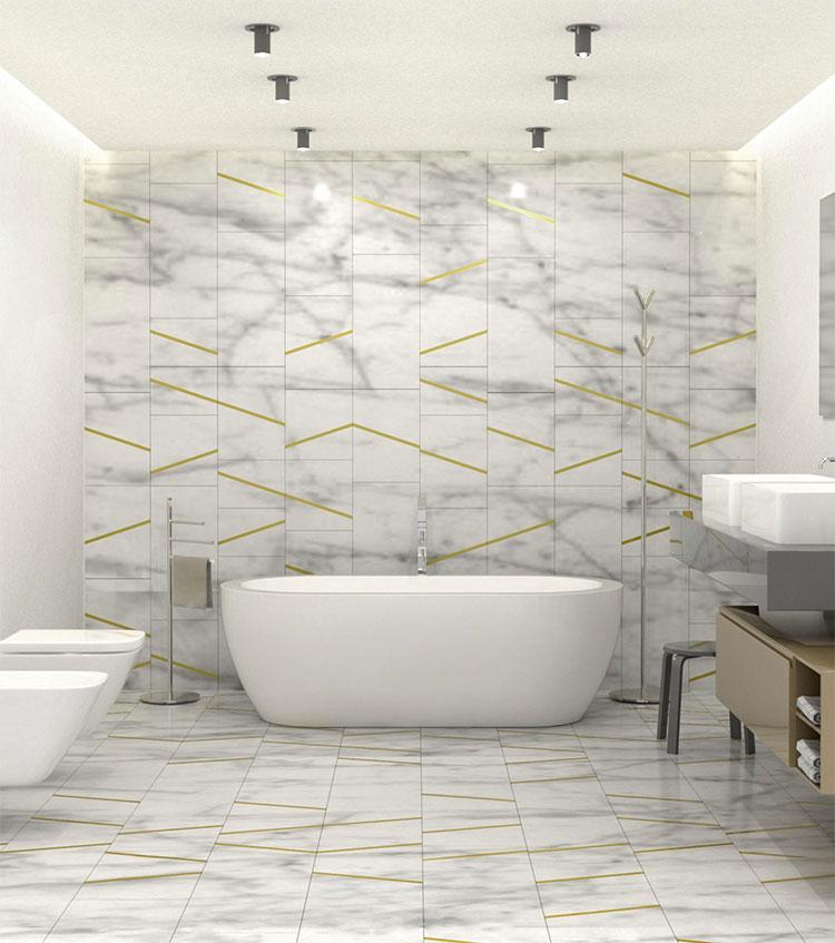 Modello di pavimento in marmo bianco n.06