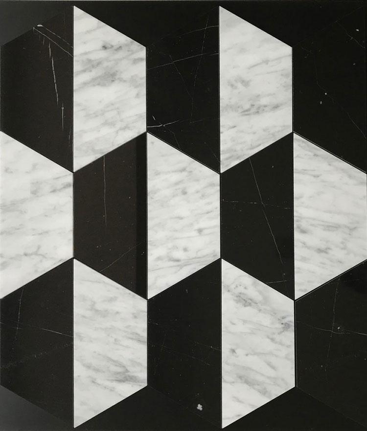 Modello di pavimento in marmo bianco e nero n.01