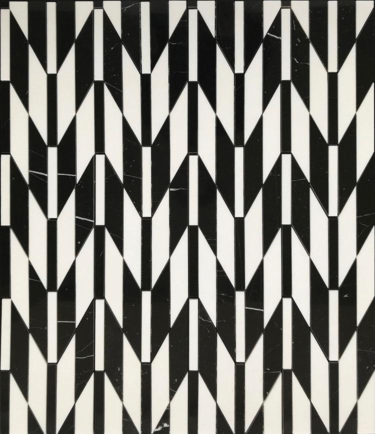 Modello di pavimento in marmo bianco e nero n.02