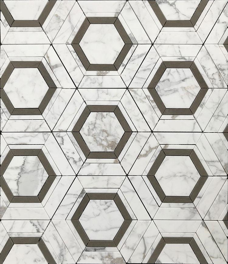 Modello di pavimento in marmo bianco e nero n.03