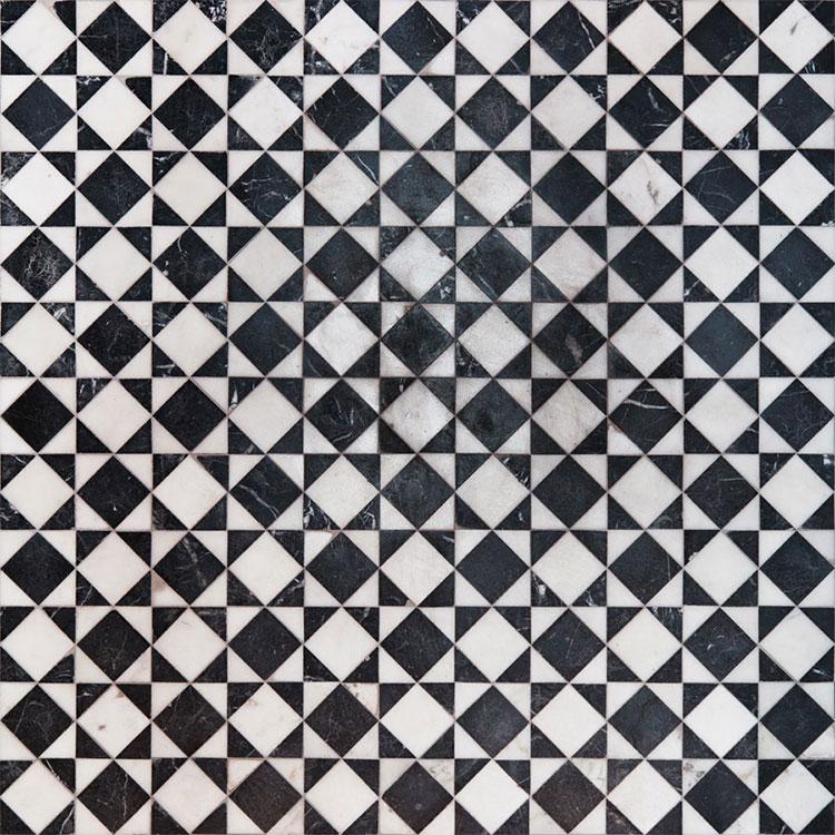 Modello di pavimento in marmo bianco e nero n.04