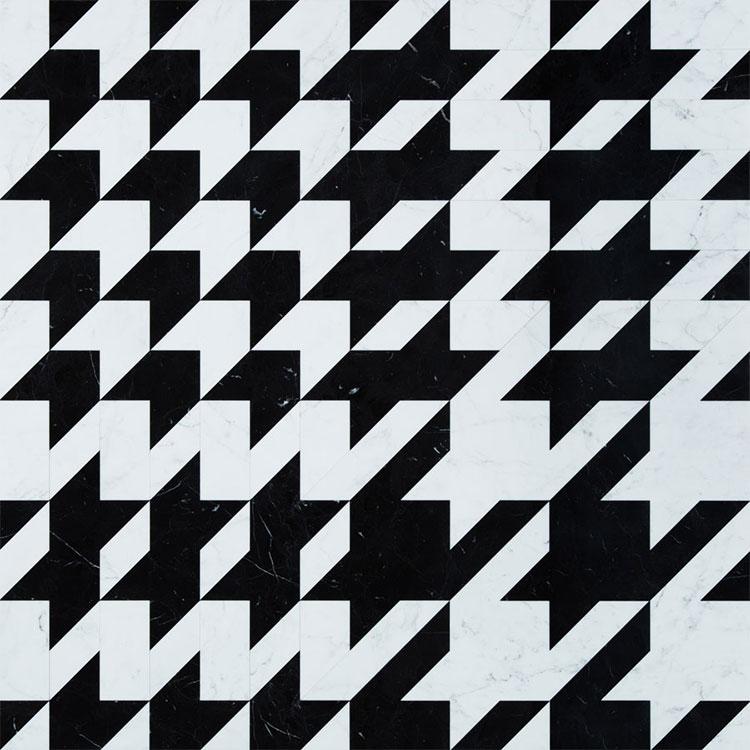 Modello di pavimento in marmo bianco e nero n.05