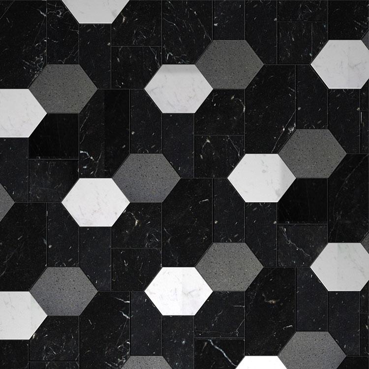 Modello di pavimento in marmo bianco e nero n.06