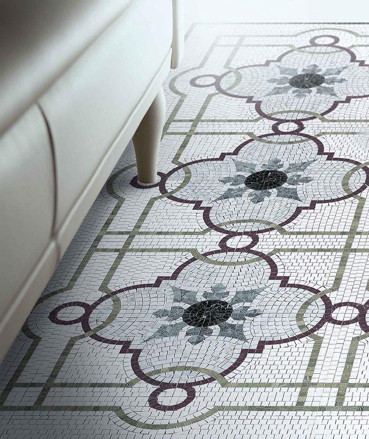 Modello di pavimento in marmo a mosaico n.02