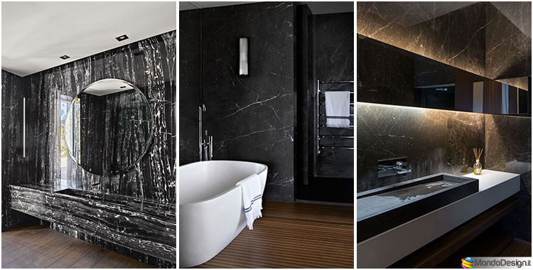 Bagni con rivestimenti in marmo nero