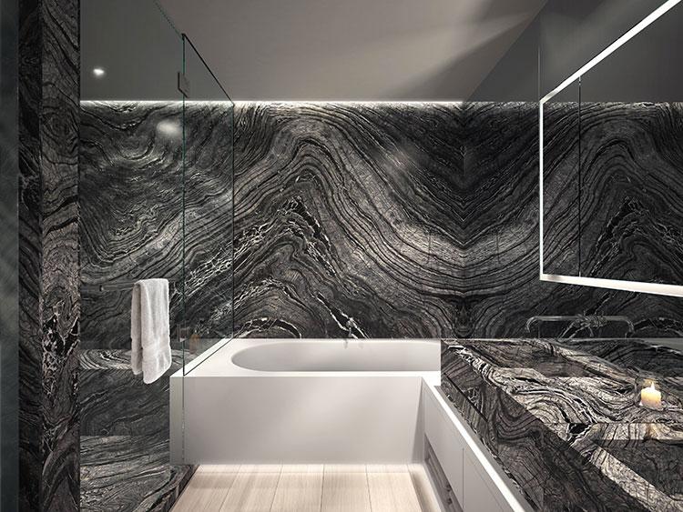 Come arredare un bagno in marmo nero n.02