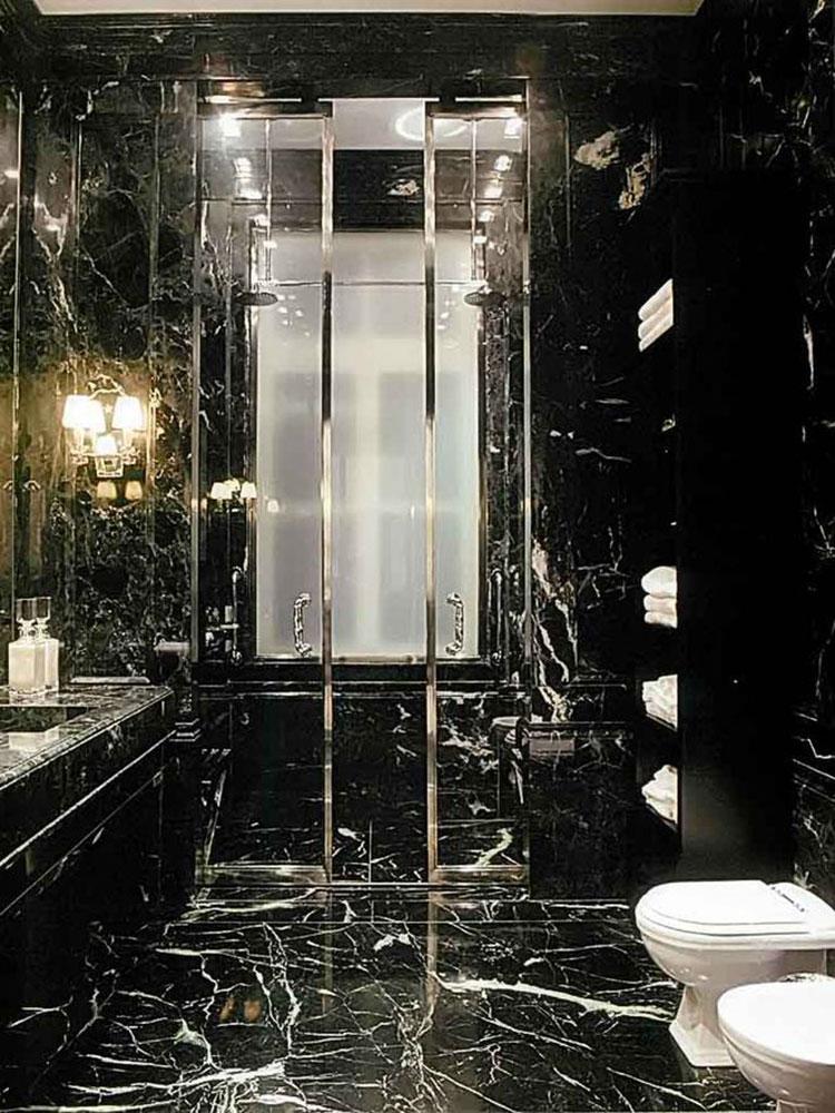 Come arredare un bagno in marmo nero n.08