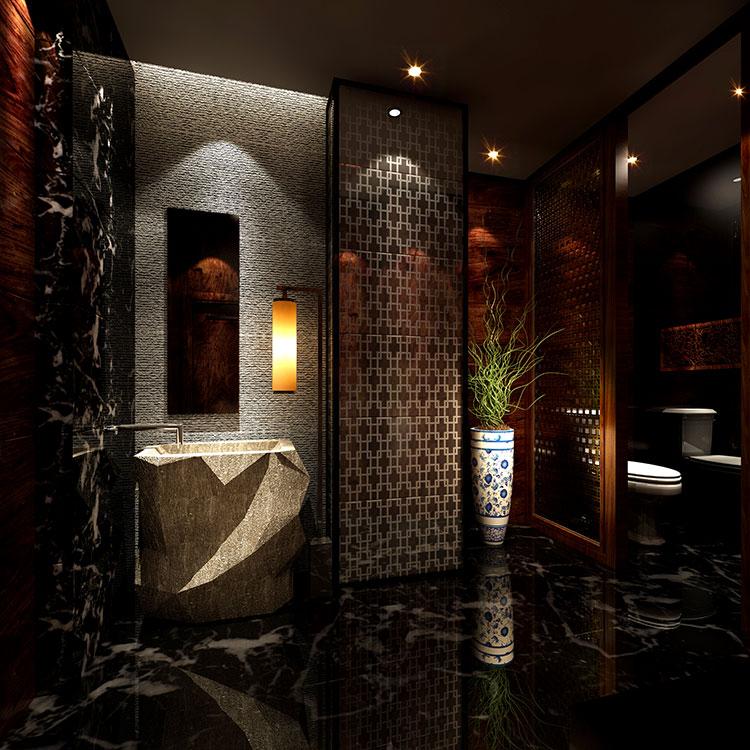 Come arredare un bagno in marmo nero n.12