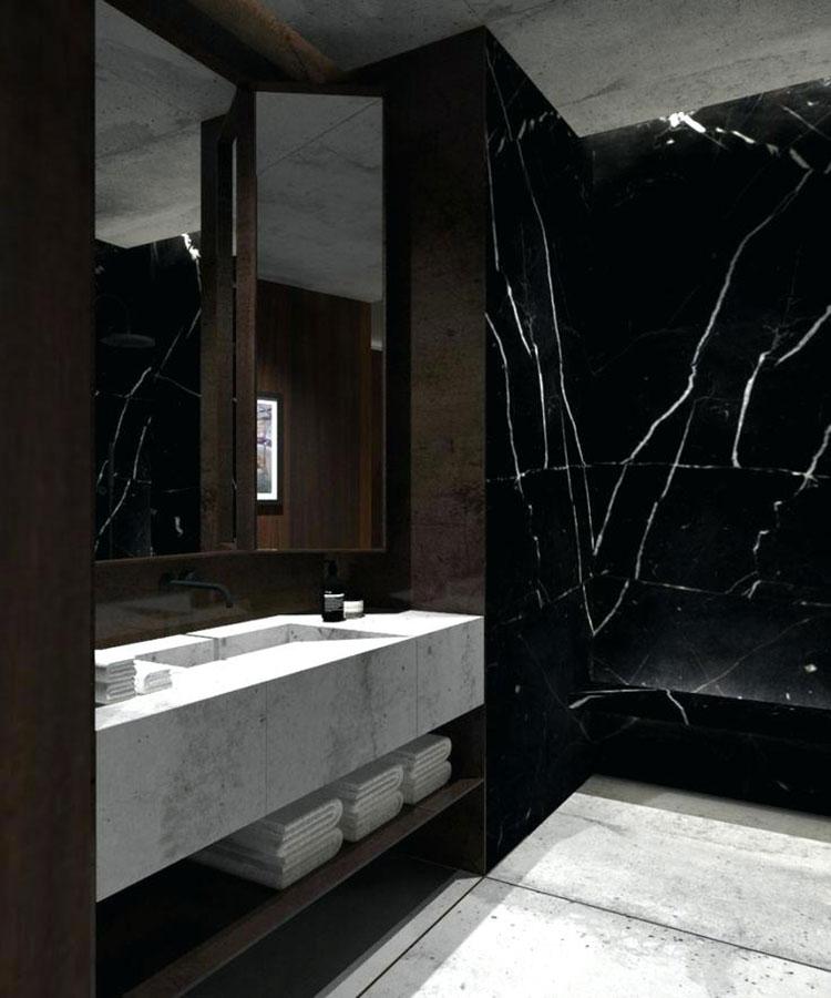 Come arredare un bagno in marmo nero n.13