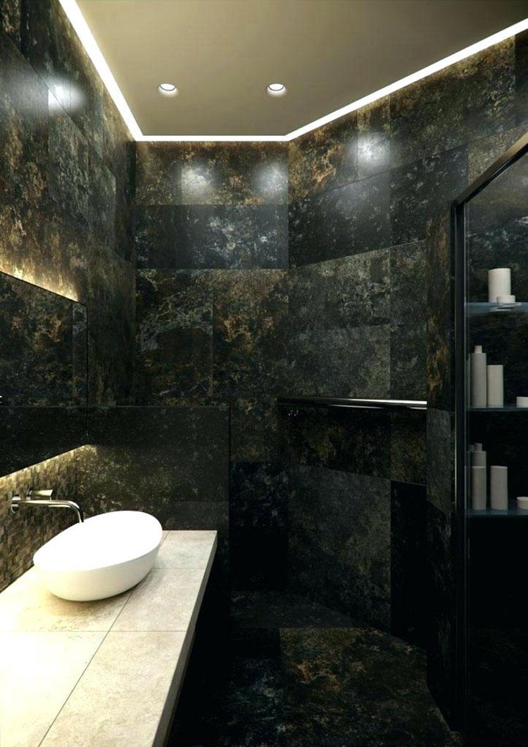 Come arredare un bagno in marmo nero n.17
