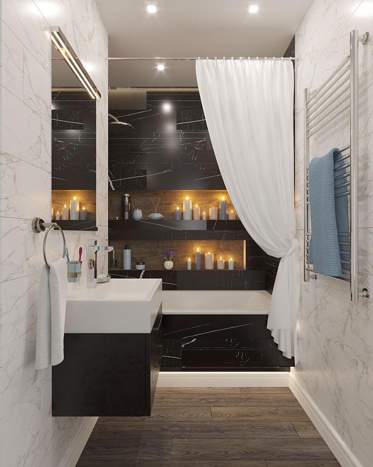 Come arredare un bagno in marmo nero n.25