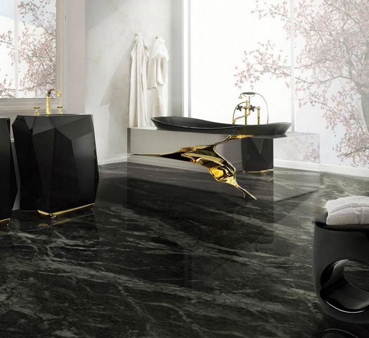 Come arredare un bagno in marmo nero n.26