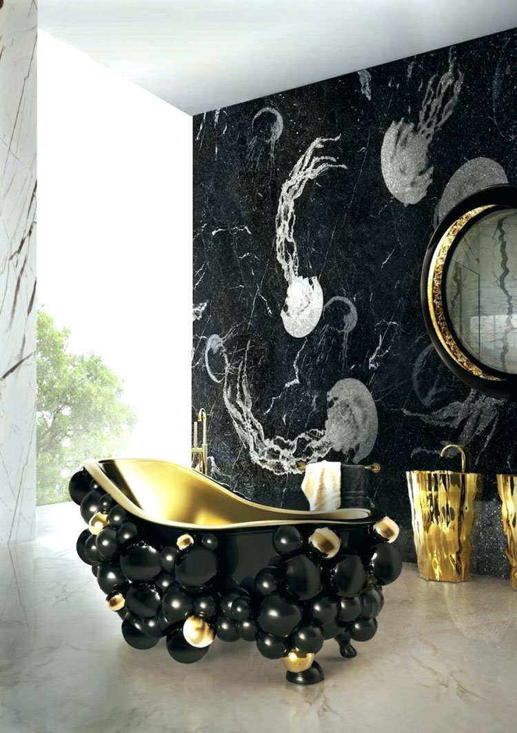 Come arredare un bagno in marmo nero n.27