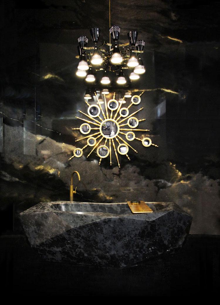 Come arredare un bagno in marmo nero n.28