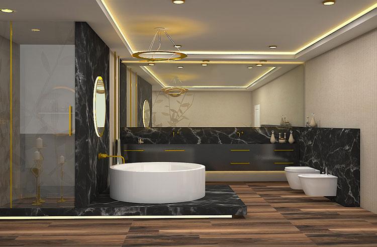 Come arredare un bagno in marmo nero n.29