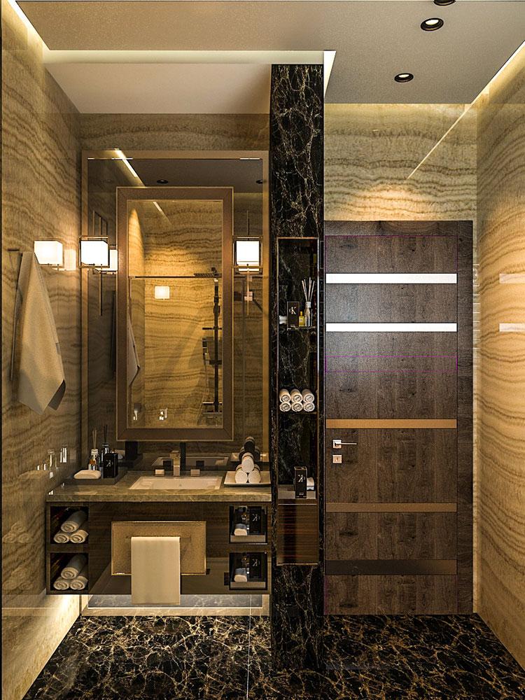 Come arredare un bagno in marmo nero n.30
