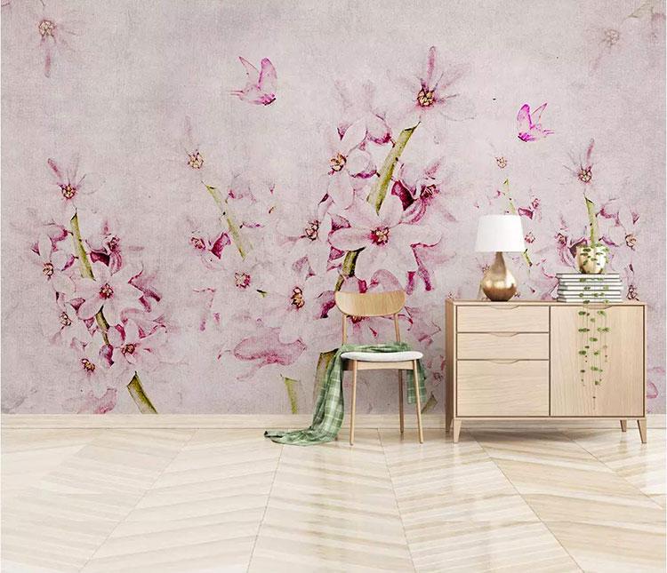 Modello di carta da parati floreale in stile shabby chic n.01