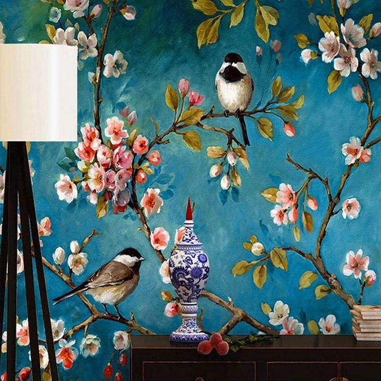 Modello di carta da parati floreale in stile shabby chic n.04