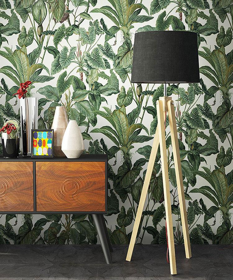 Modello di carta da parati floreale in stile tropicale n.01