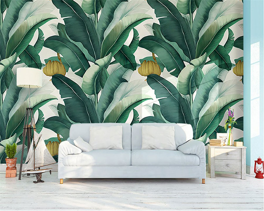Modello di carta da parati floreale in stile tropicale n.04