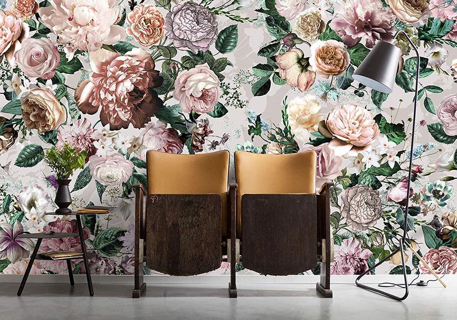 Modello di carta da parati floreale in stile vintage n.01