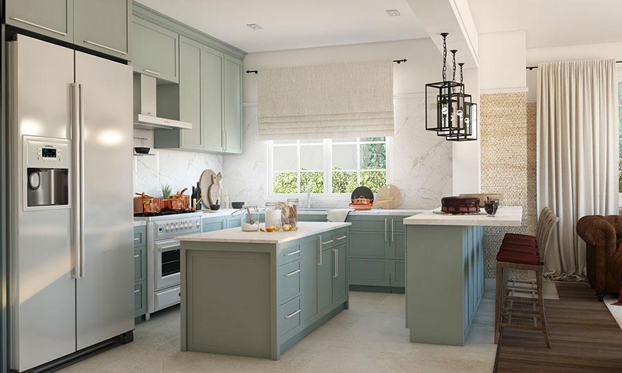 Modello di cucina open space stile classico n.01