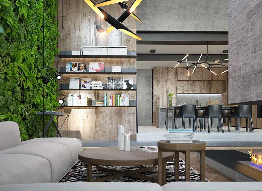 Modello di cucina open space stile industriale n.01