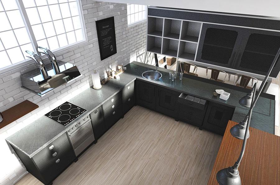 Modello di cucina open space stile industriale n.03