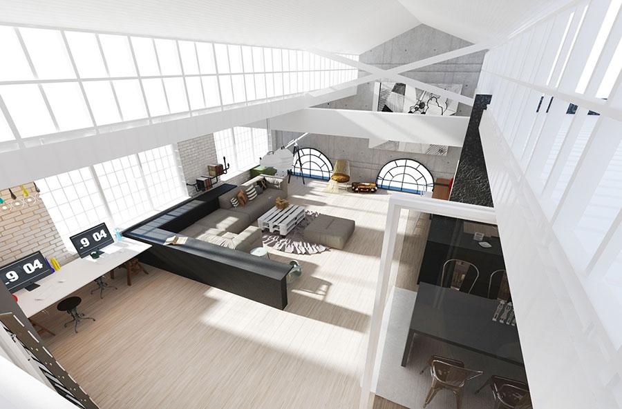 Modello di cucina open space stile industriale n.04