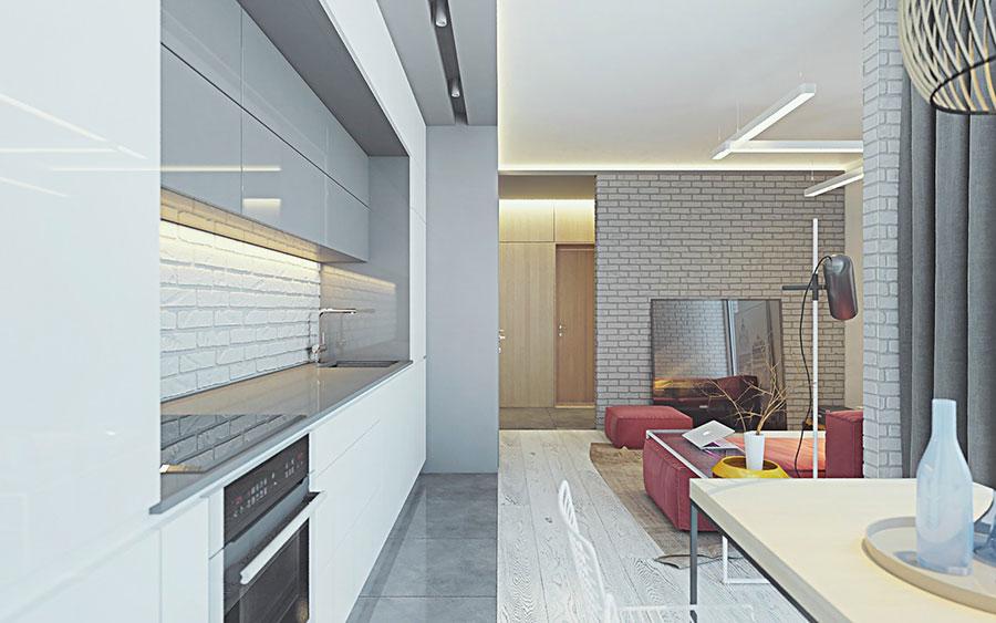 Modello di cucina open space stile industriale n.05