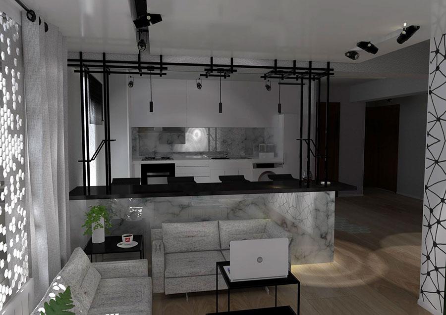 Modello di cucina open space stile industriale n.06