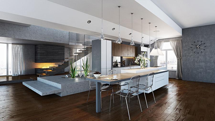 Modello di cucina open space moderna n.01