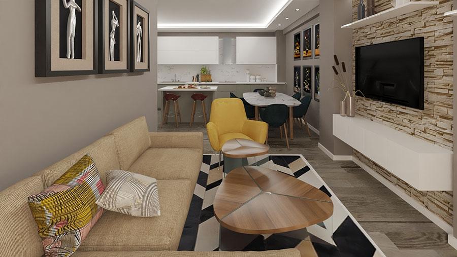 Modello di cucina open space moderna n.04