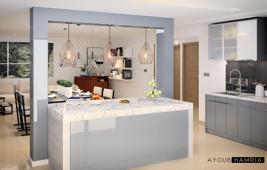 Modello di cucina open space moderna n.05