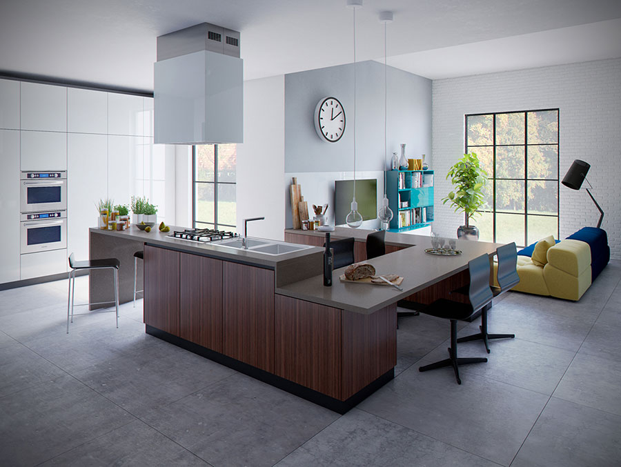 Modello di cucina open space moderna n.14