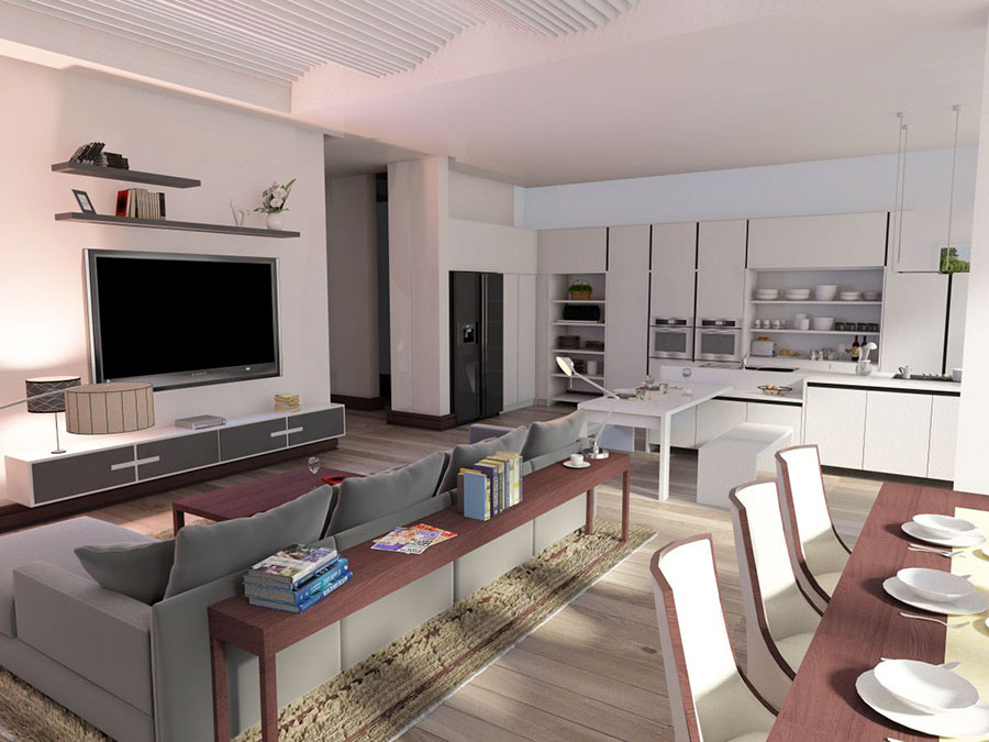 Modello di cucina open space stile scandinavo n.01