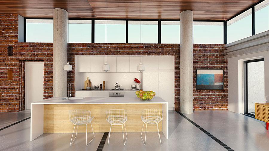 Modello di cucina open space stile scandinavo n.06