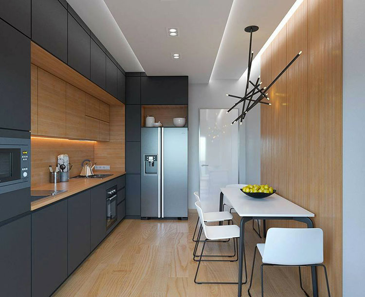 Composizione lineare per una cucina stretta e lunga 02