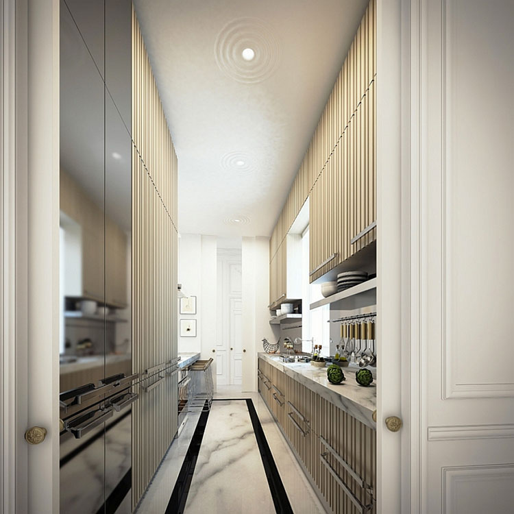 Idee per pavimenti di una cucina stretta e lunga n.02
