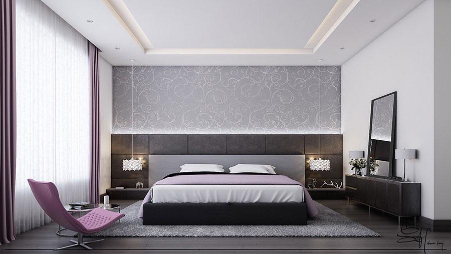 Arredamento grigio perla per la camera da letto n.09