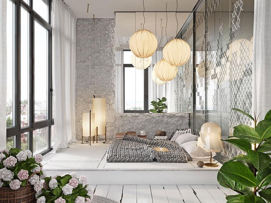 Arredamento grigio perla per la camera da letto n.16