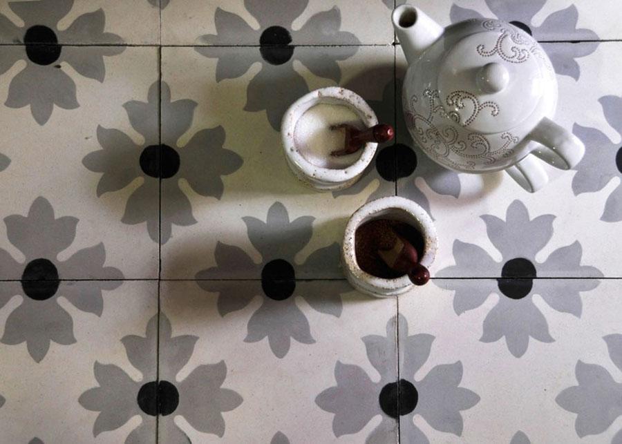 Modello di pavimento in cemento per cucina classica n.6